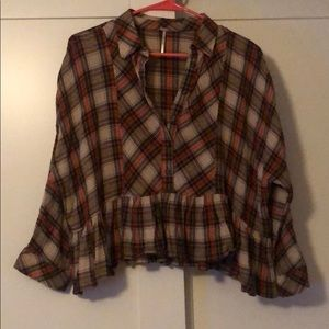 Free People Plaid Top